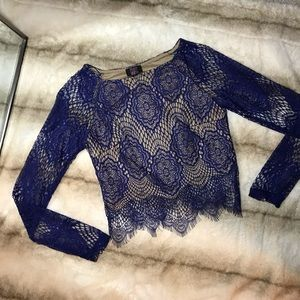 Royal blue lace cropped top